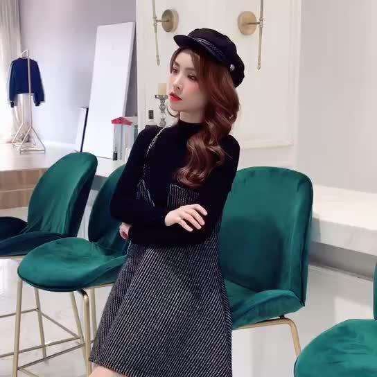 粗花呢連衣裙女秋季2019新款韓版收腰顯瘦打底針織衫a字裙兩件套