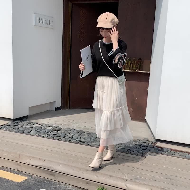 實拍2019秋冬季新款韓版網紗半身裙女高腰不規則超仙中長款蛋糕裙