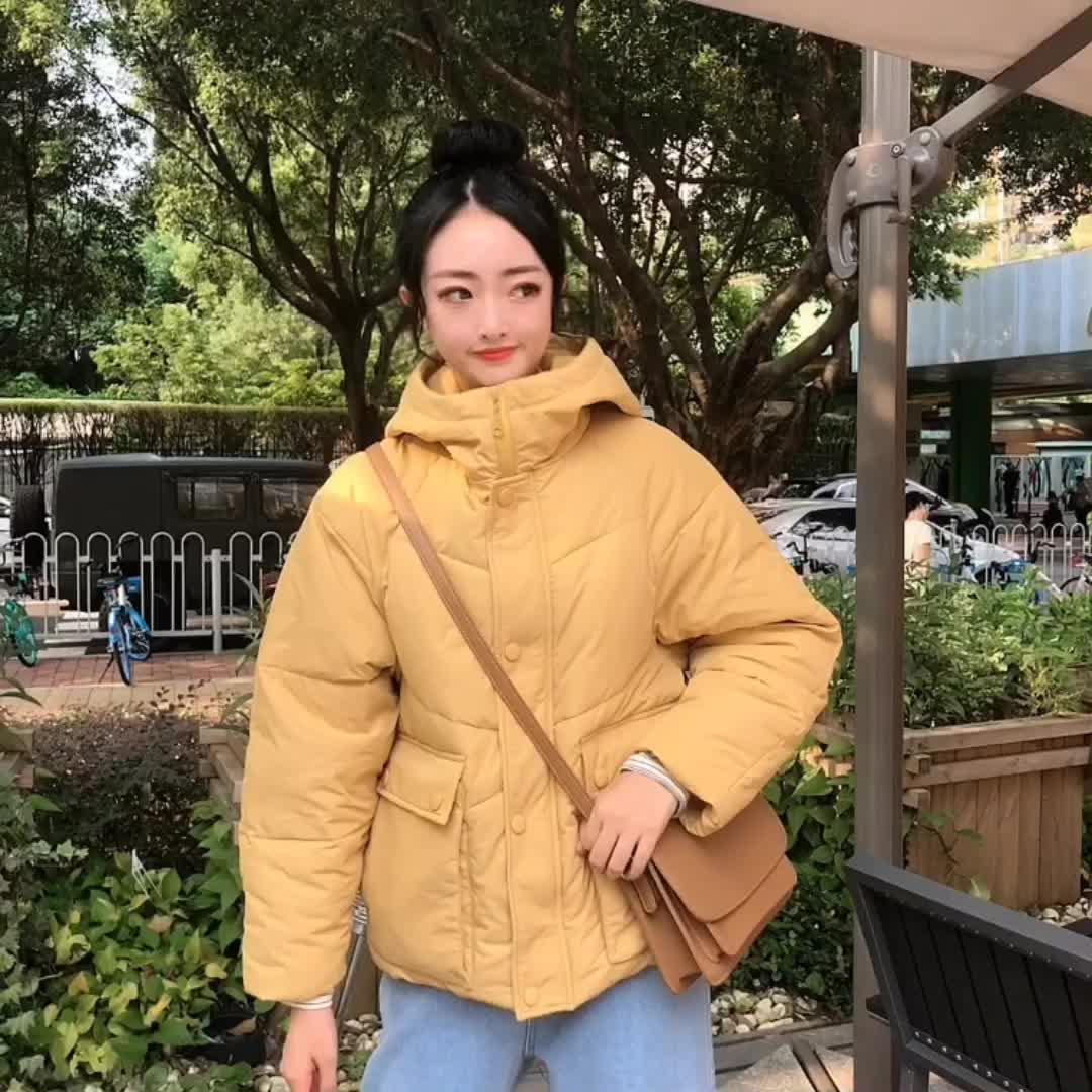 实拍2019冬季棉衣网红学生短款羽绒服chic女学院风加厚宽松棉服