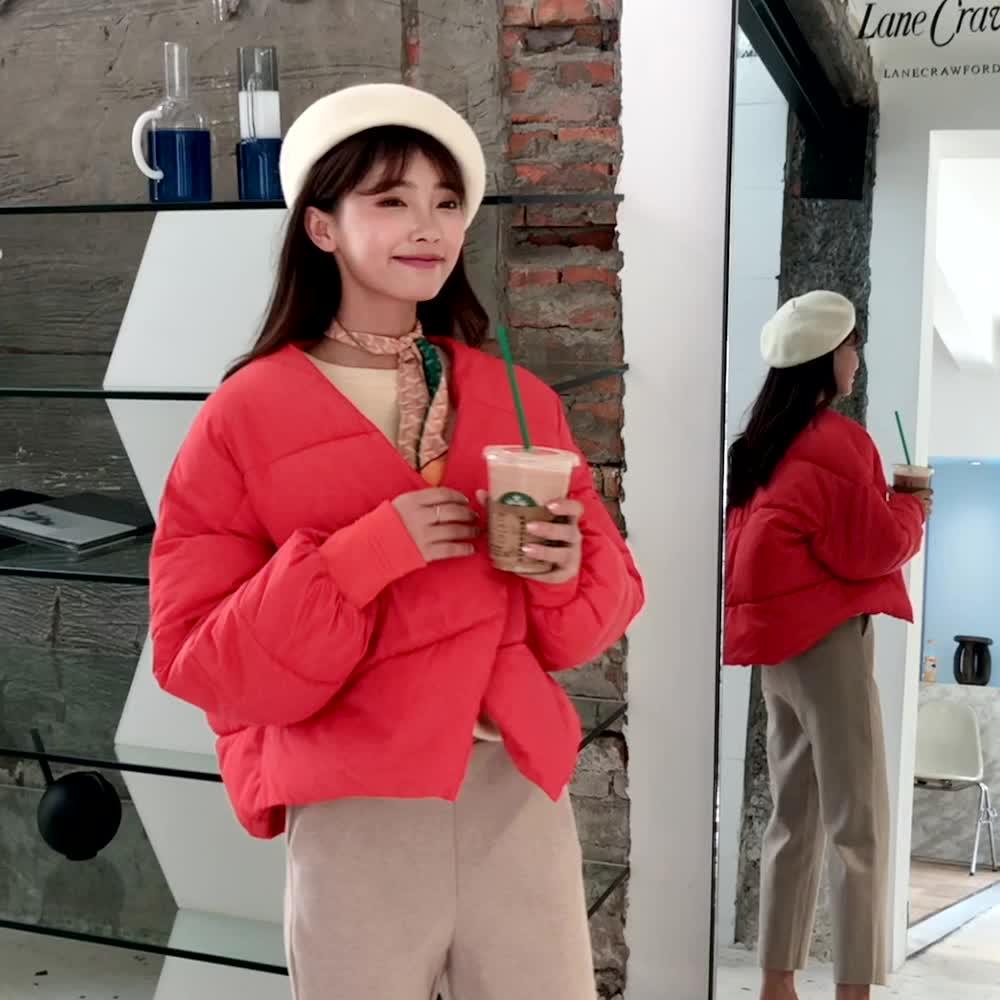 實拍2019韓國東大門秋冬短款羽絨棉服女時尚個性可愛學生寬松棉衣