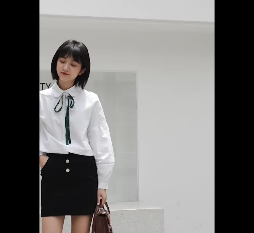實拍小清新襯衫上衣短裙兩件套學生甜美套裝少女系帶