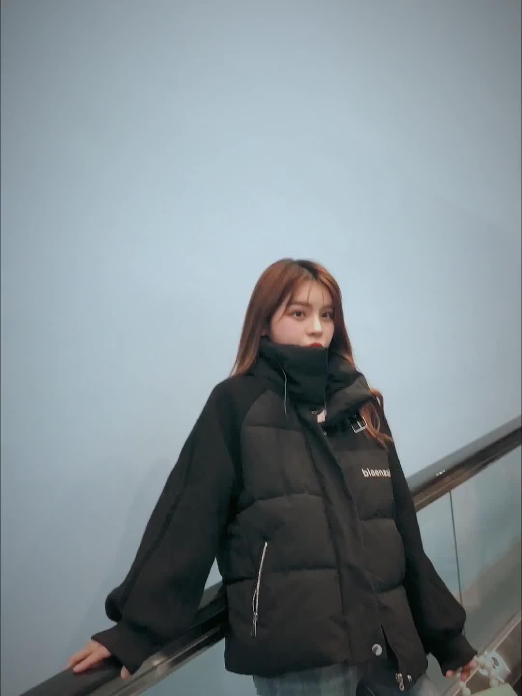 實拍新款韓版拼接羽絨棉服女學生加厚短款棉服女復古港風寬松棉衣