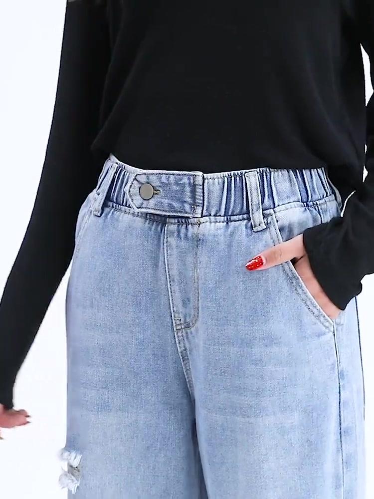 实拍2020夏季新款牛仔九分裤毛边宽松破洞阔腿直筒女式牛仔裤