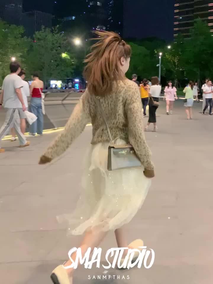 豹纹套头针织衫女2019初秋新款毛衣ins潮网红宽松慵懒风长袖上衣