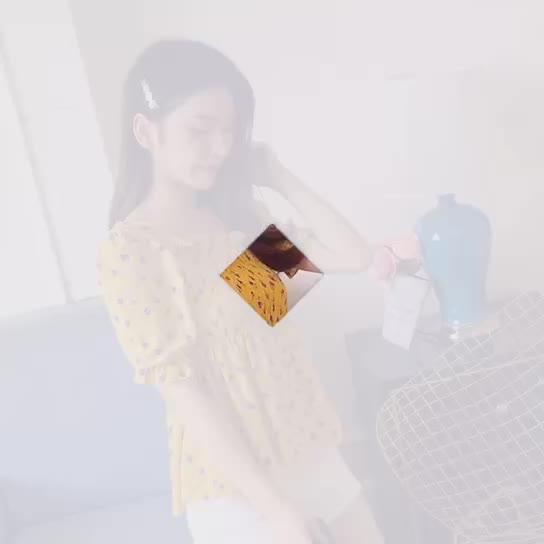实拍现货很仙的花雪纺女洋气衬衫短袖2019夏季新款超仙遮肚子上衣