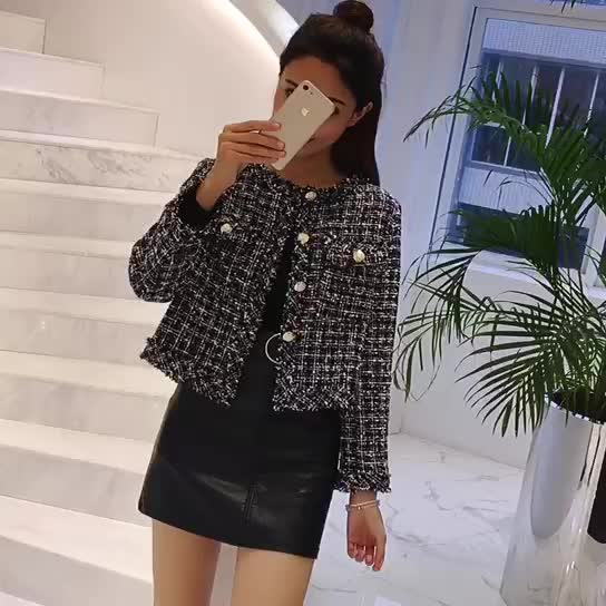 實拍2019秋裝韓版新款名媛小香風粗花呢復古短款外套女長袖開衫潮