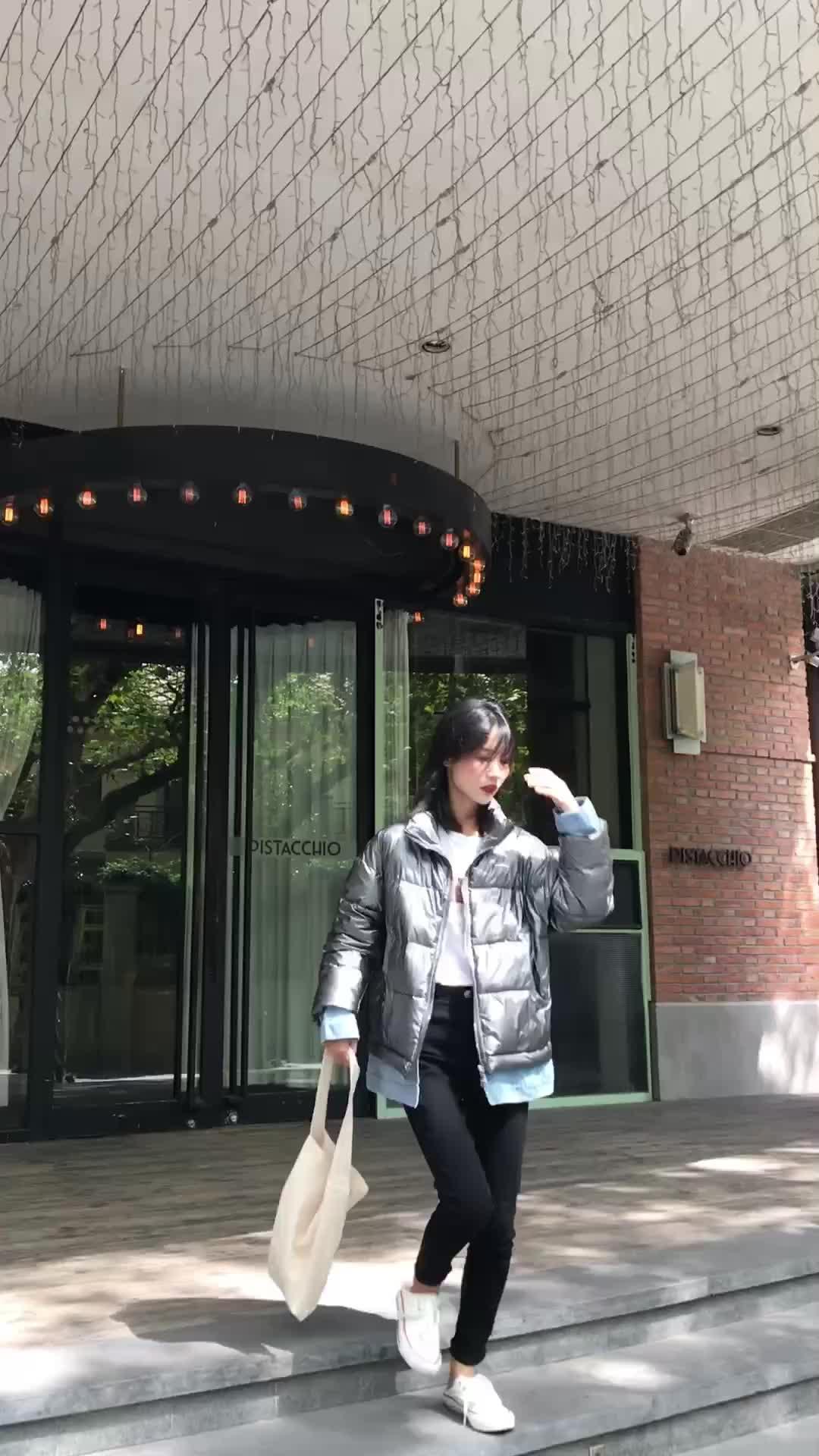 實拍2019韓版新款假兩件套羽絨服女牛仔拼接棉服立領學生棉衣外套