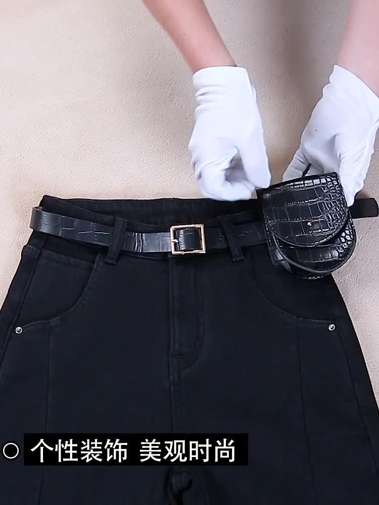 实拍现货2019冬季新款加绒牛仔裤女宽松高腰显瘦直?#24067;?#21402;老爹裤子