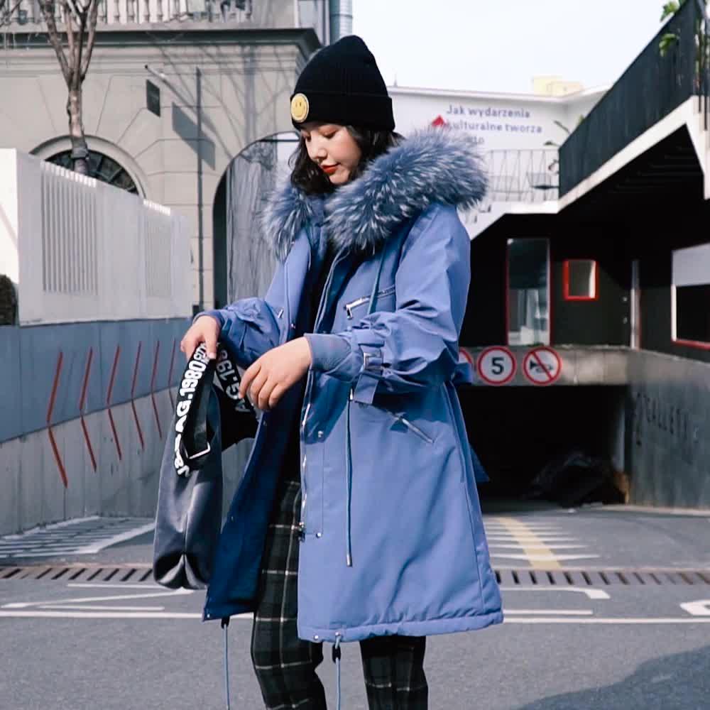 實拍 韓國東大門秋冬新款閨蜜棉服女寬松收腰內襯羊羔毛棉衣外套