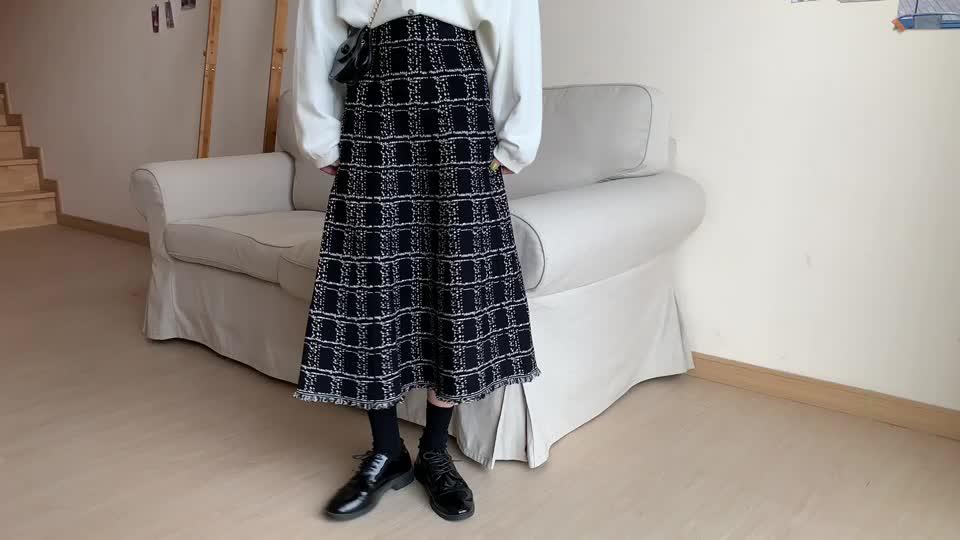 小香風格子針織半身裙女2020秋冬新款中長款高腰流蘇大擺a字裙子