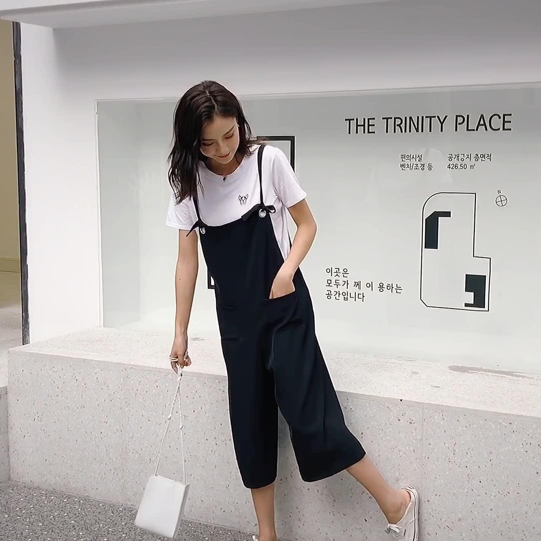 2019夏季新款胖MM大码时尚洋气七分背带裤套装女小个子减龄两件套