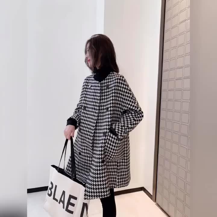 欧洲站冬装2019新款欧货千鸟格毛呢外套女韩版中长款百搭气质大衣