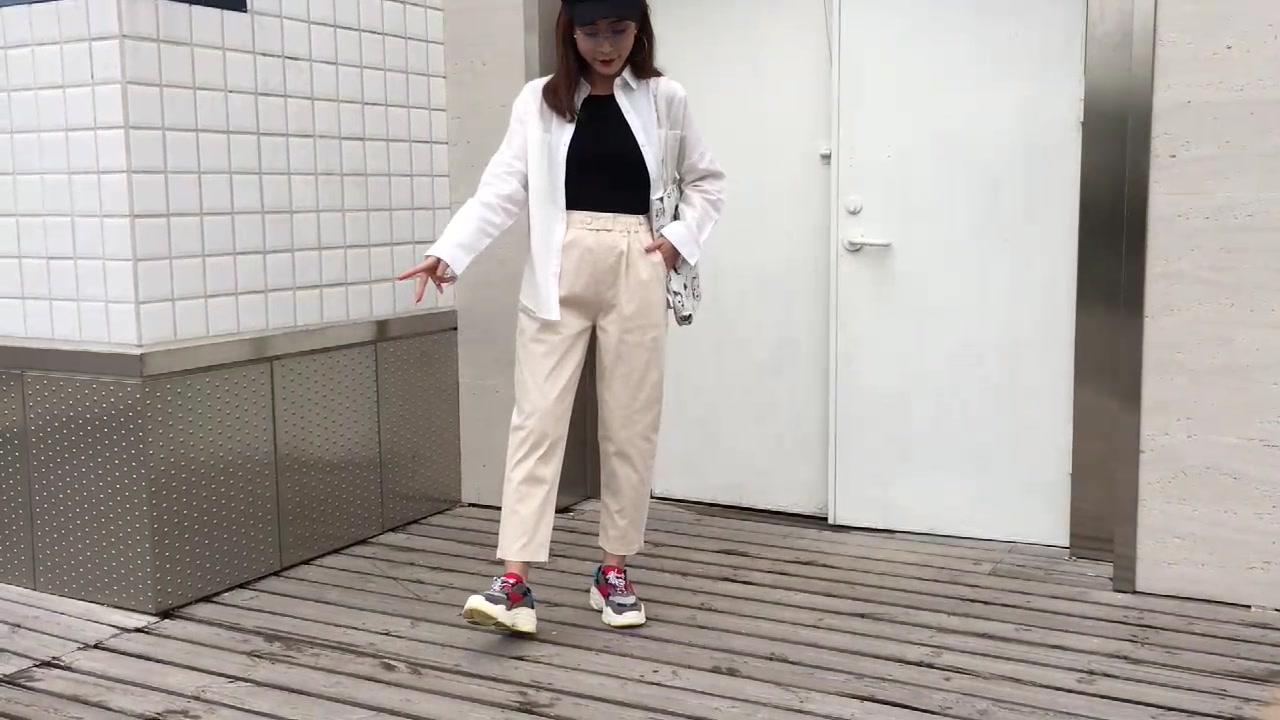 实拍~视频老爹裤女宽松bf工装九分清爽显瘦cec直筒休闲裤子