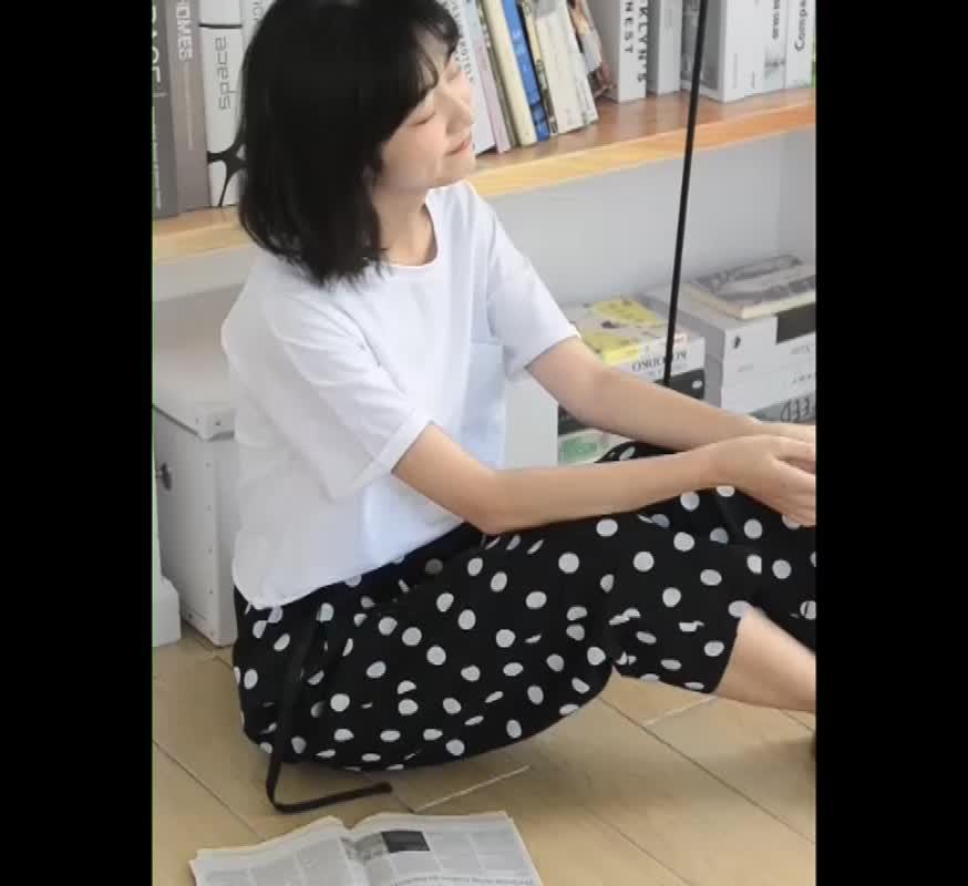 波點闊腿褲女2019夏新款高腰薄款寬松顯瘦洋氣九分直筒褲潮