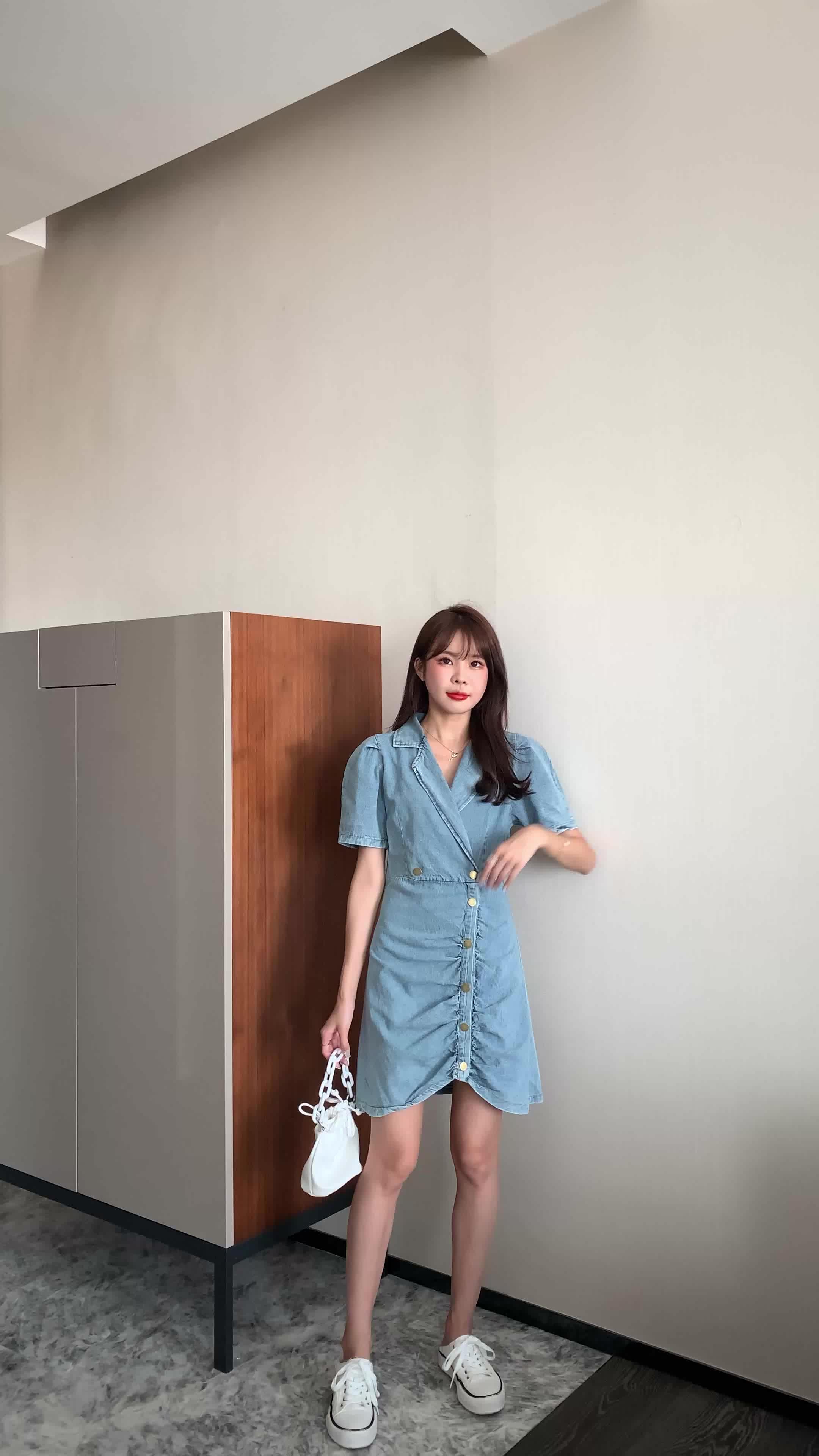 實拍現貨夏季新款牛仔連衣裙女薄款韓版休閑西裝領泡泡袖牛仔裙子