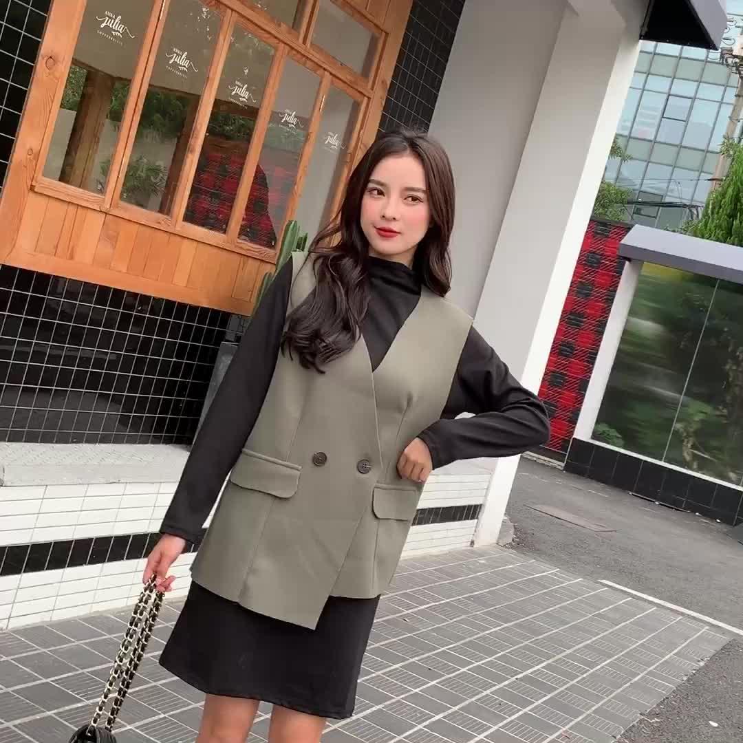 亚博娱乐平台入口219秋冬新款两穿女背心长裙两件套宽松显瘦绑带收腰连衣裙