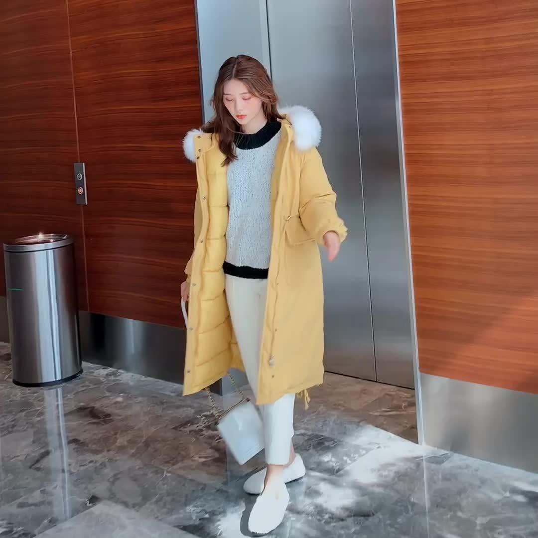 实拍2019冬季棉衣网红长款过膝羽绒服chic女学院风加厚宽松棉服bt