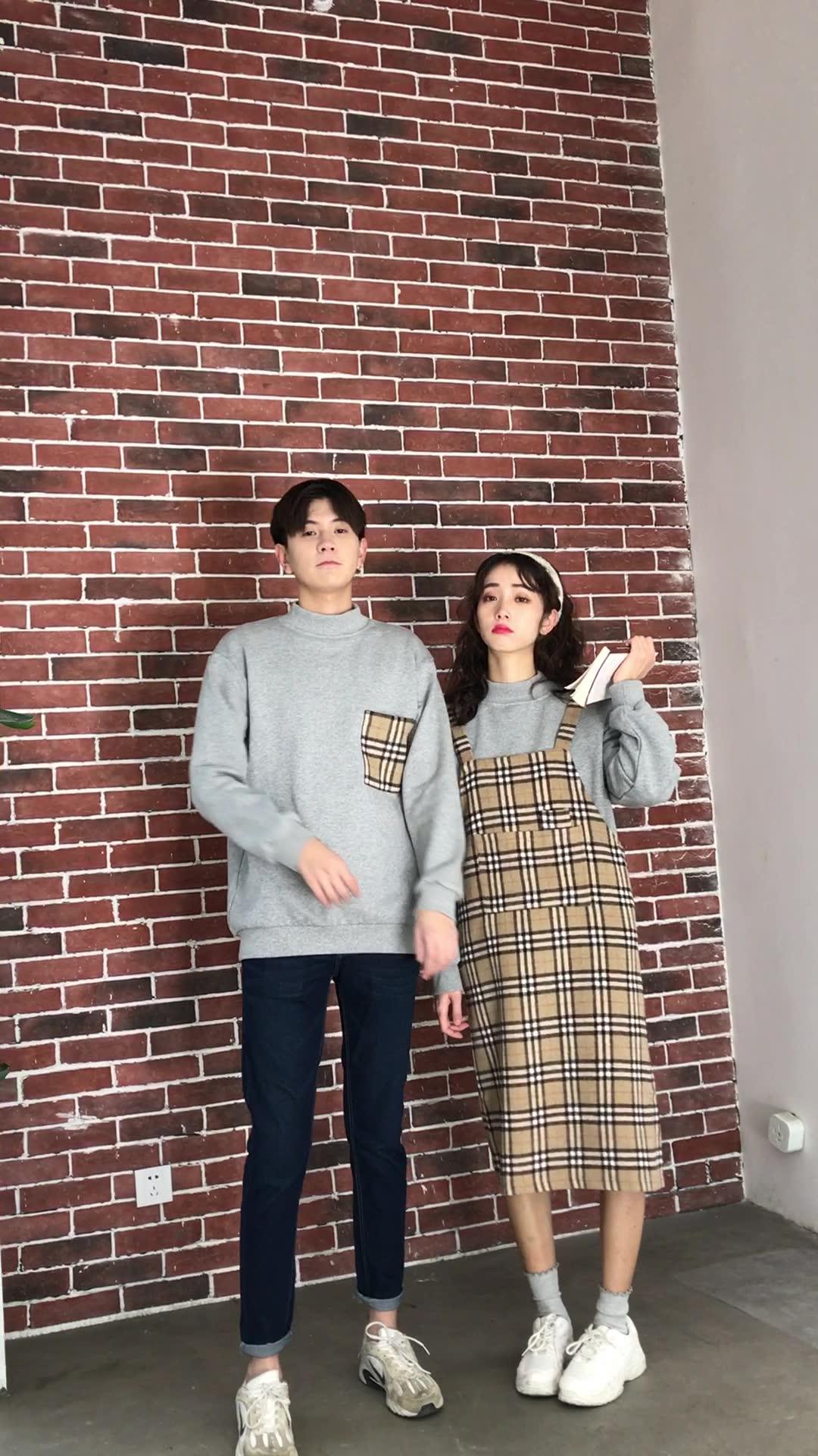 亚博娱乐平台入口情侣装冬季加绒班服韩版男卫衣格子女连衣裙子背带裙两件套装
