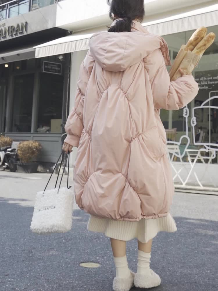 實拍2019冬季新款韓版中長款oversize潮大碼面包寬松顯瘦棉服女