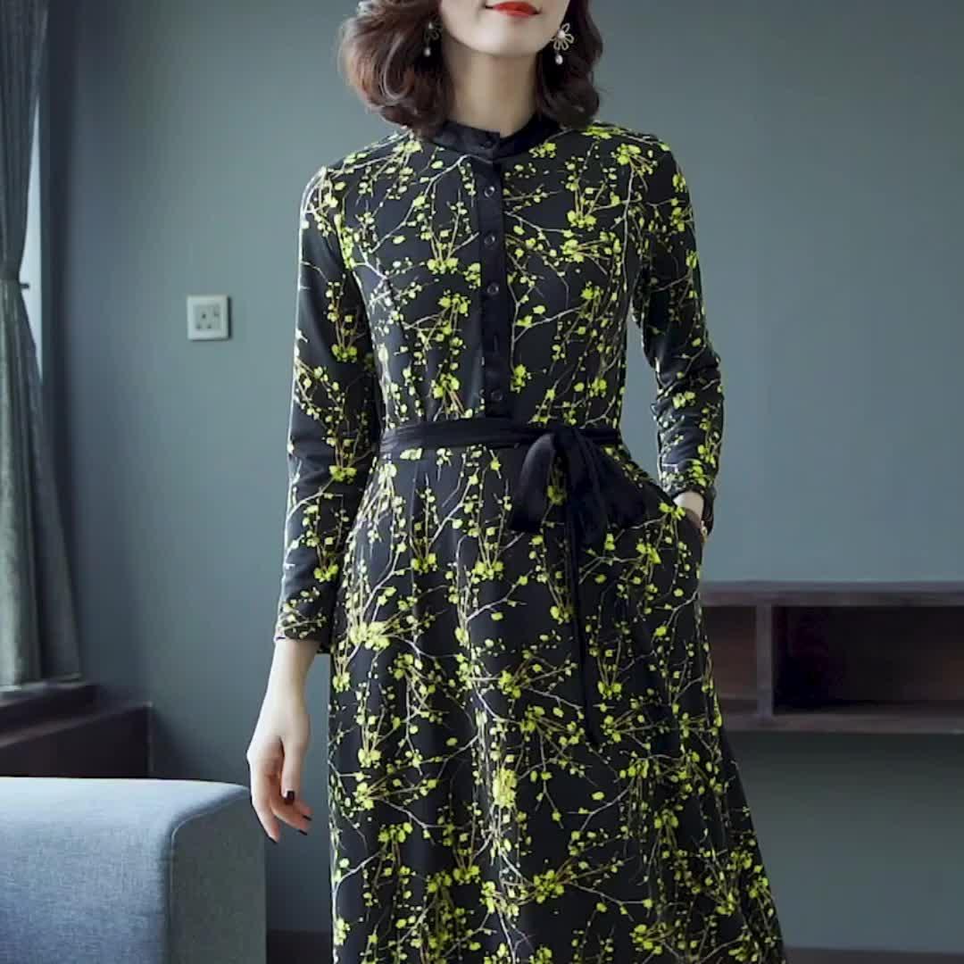 气质长袖碎花长裙修身收腰针织连衣裙秋装2020年新款女春季裙子