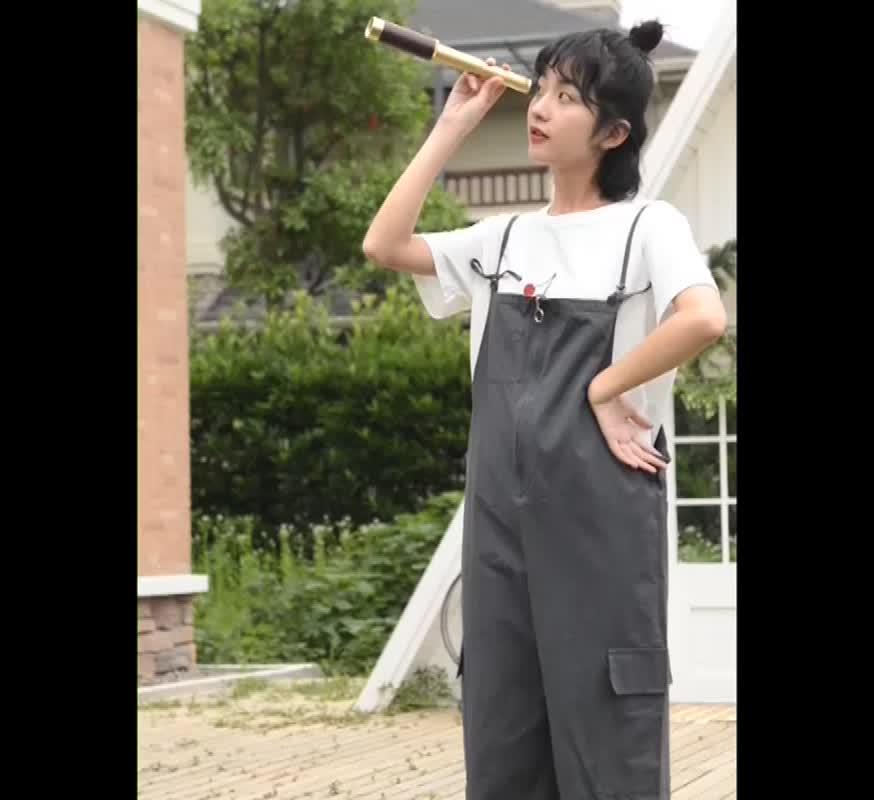 實拍背帶褲女學生韓版2019新款夏季九分連體褲減齡收腰顯瘦