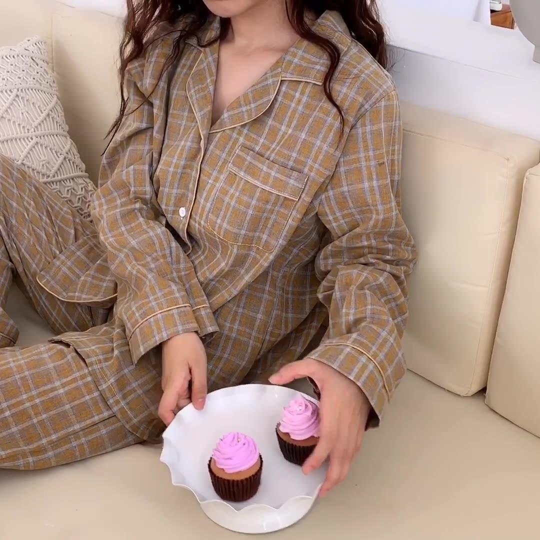 情侶款#實拍# 新品 慵懶淡雅撞色格紋長袖長褲睡衣家居服套裝6561