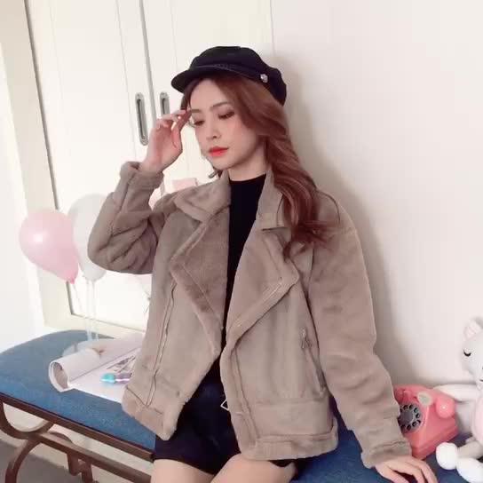 2019秋冬季新款韓版皮毛一體加絨翻領加厚羊剪絨短款外套皮衣女裝