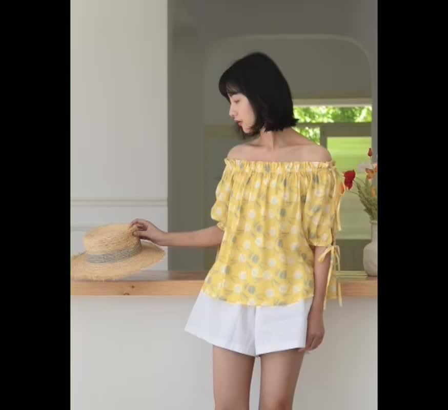 T恤女夏百搭chic韓版印花打底衫一字肩碎花上衣修身內搭薄款