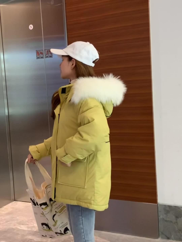 实拍新款网红休闲chic羽绒服女亚博开户ins工装大毛领外套连帽棉衣