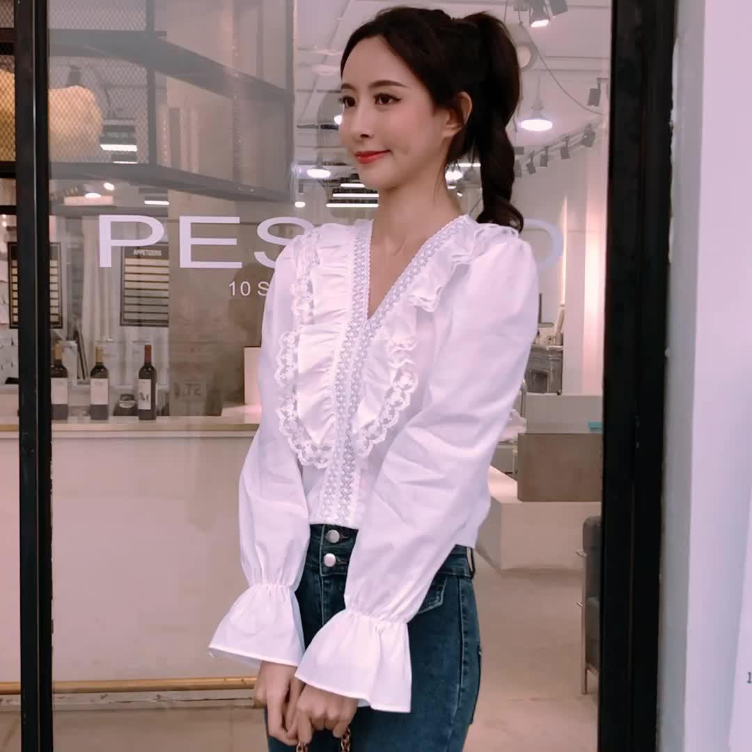 實拍 少女韓國chic復古V領木耳邊蕾絲拼接減齡純色長袖襯衫