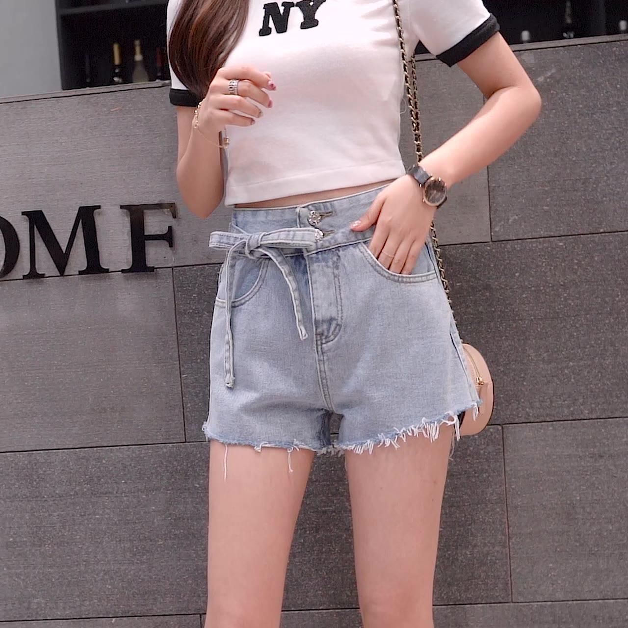 牛仔短褲女高腰a字闊腿褲2019新款外穿寬松顯瘦熱褲子韓版學生潮