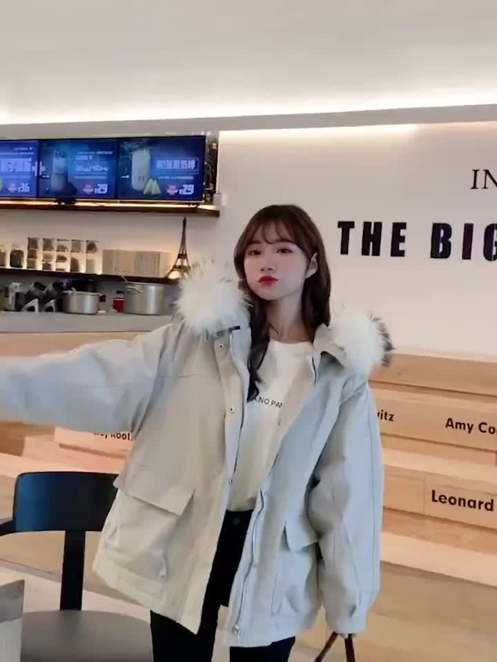 實拍2019秋冬新款羽絨棉服女韓版短款棉衣裝網紅大毛領短款外套