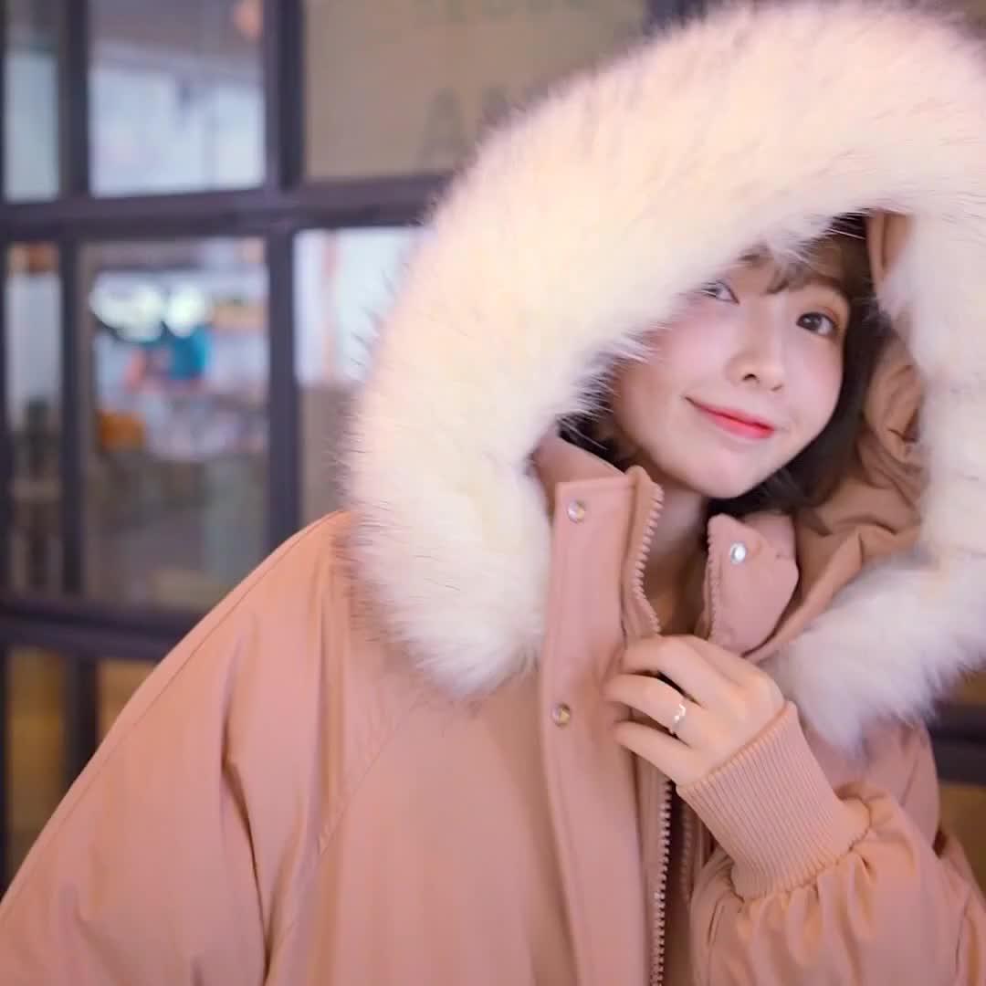實拍2019新款韓版羽絨棉服女閨蜜裝連帽大毛領長款過膝棉服面包服