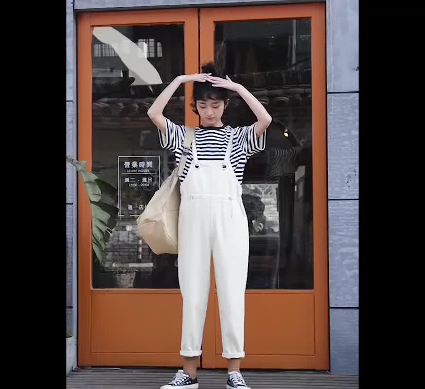 實拍女學生網紅連體褲新款女裝韓版流行背帶長褲牛仔褲子