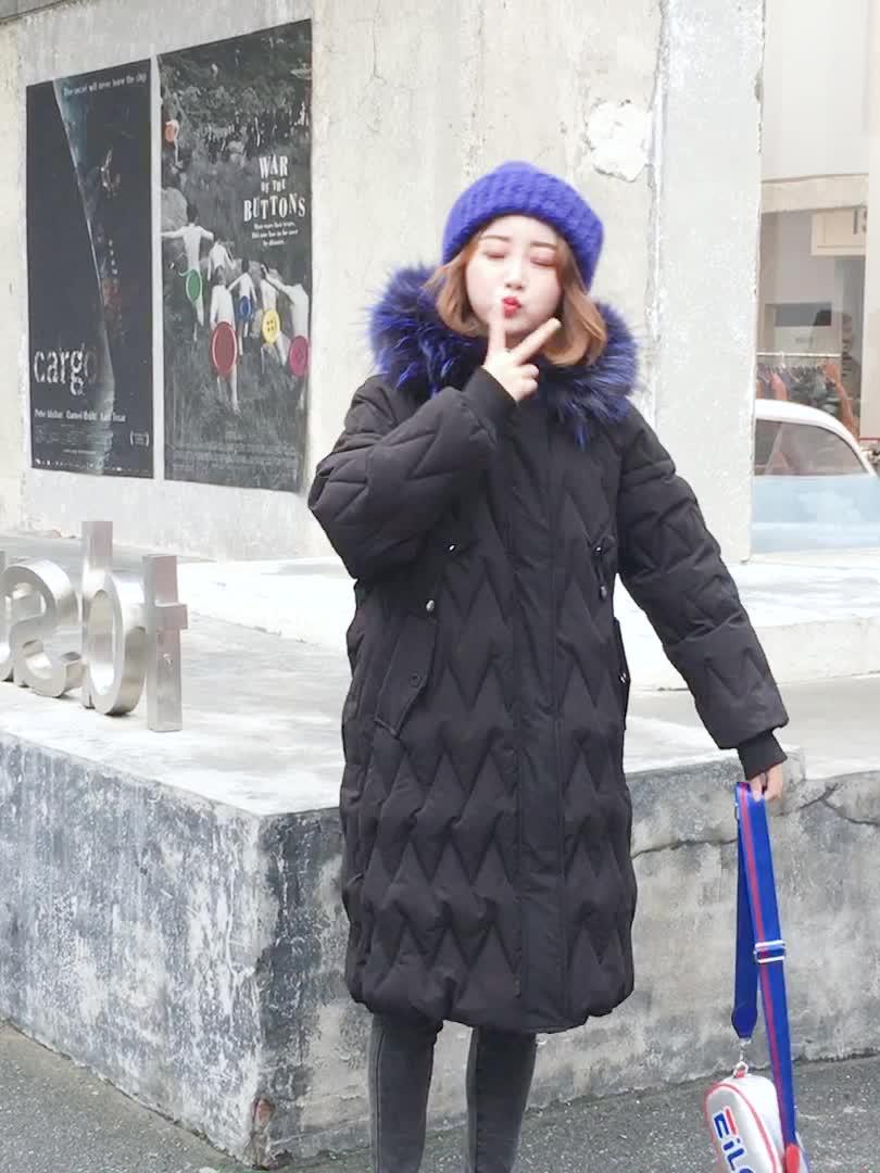 实拍2018冬季新款原宿连帽棉衣女中长款羽绒服真毛领加厚宽松棉服