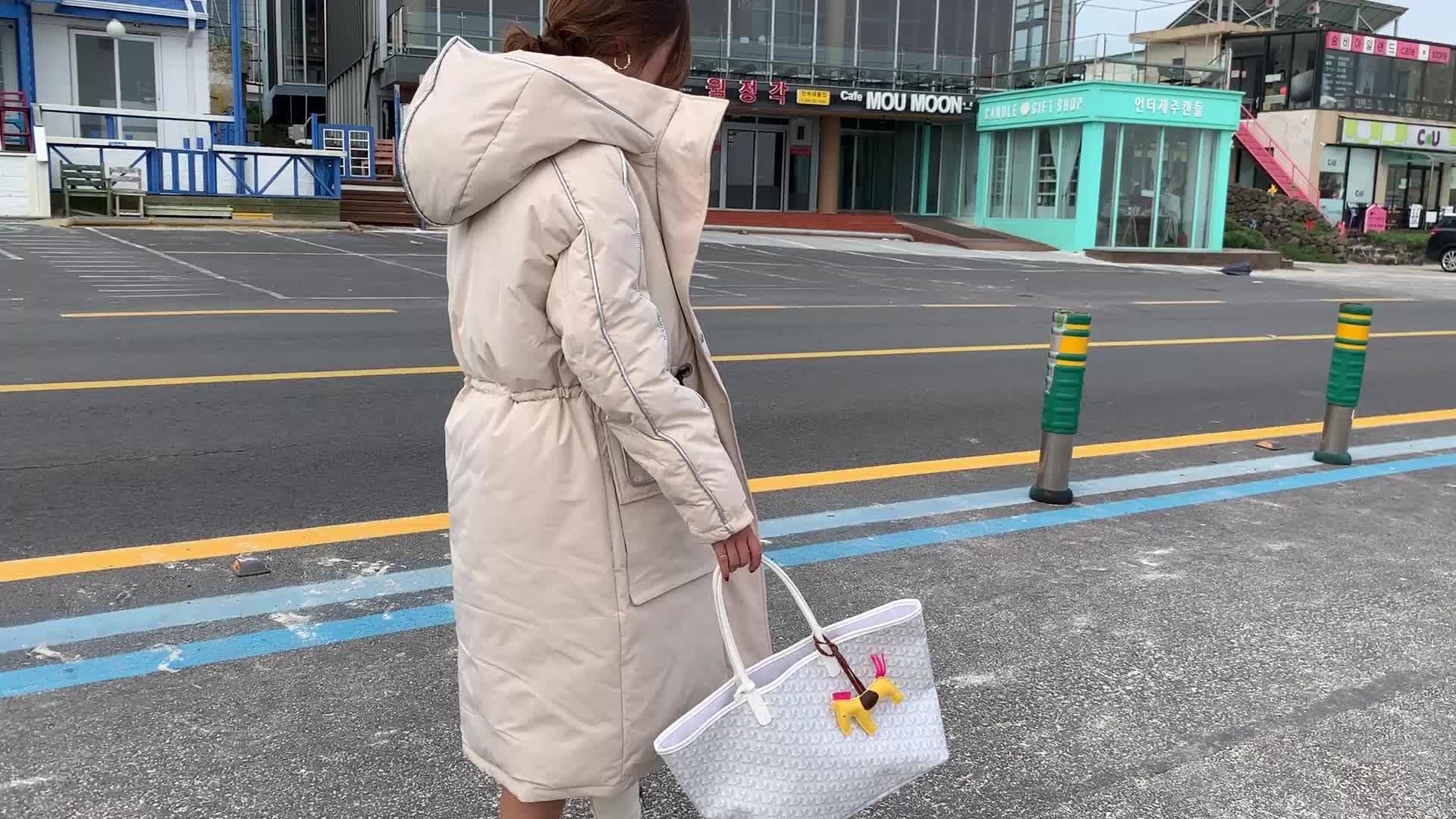 實拍2019年冬季新款韓版寬松過膝棉衣外套加厚棉襖羽絨棉服女長款