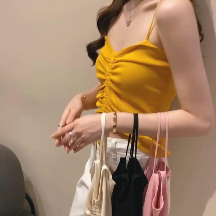 實拍2020夏裝吊帶內搭針織衫t恤女糖果色薄款打底衫修身上衣