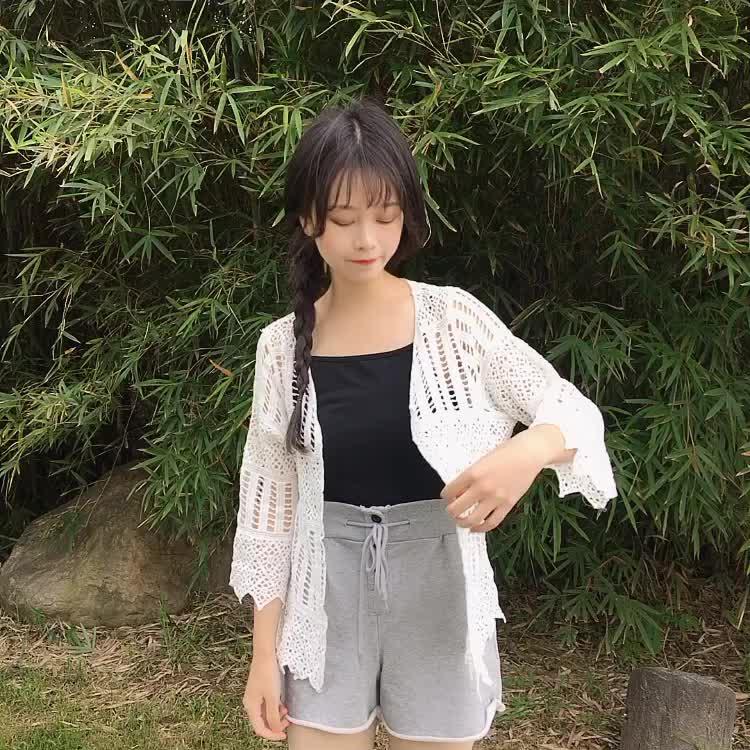 实拍刺绣流苏披肩薄款外套夏海边度假外搭沙滩防晒衣女 蕾丝开衫
