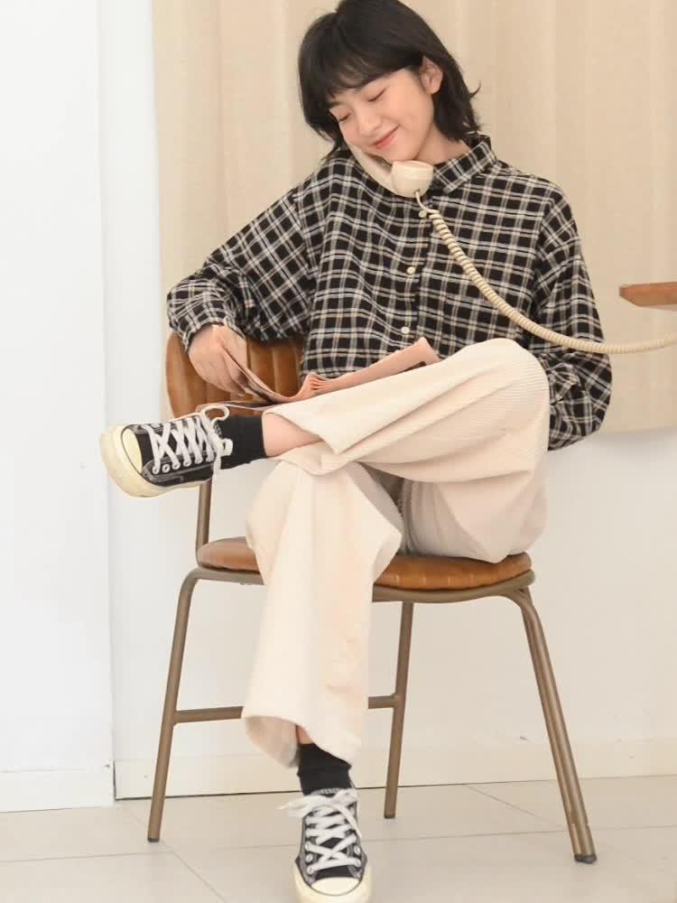 6687#+6690#秋冬新款韓版寬松格子襯衫女+燈芯絨裙子套裝