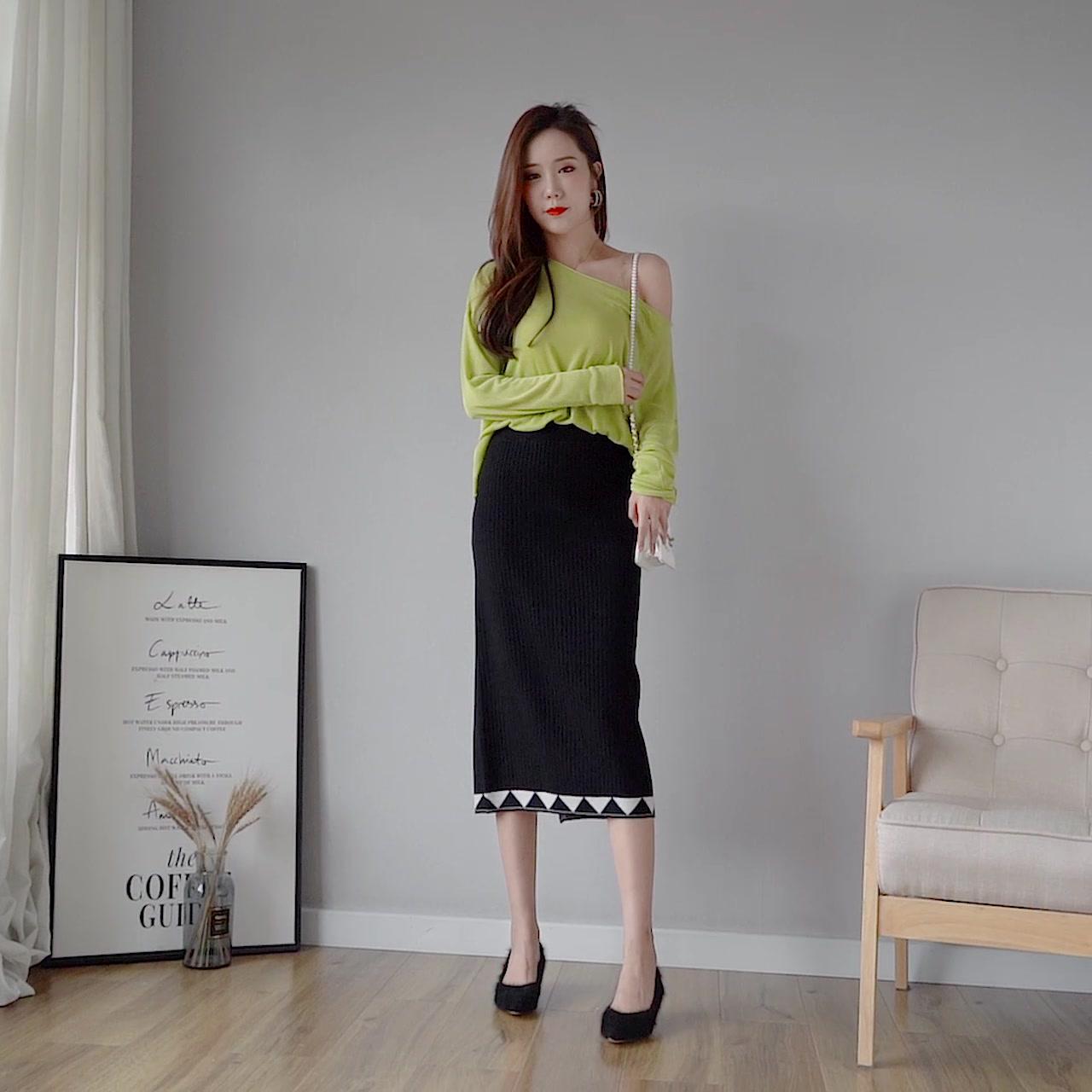 針織半身裙加厚2019秋冬新款高腰包臀裙韓國修身顯瘦毛線裙中長款