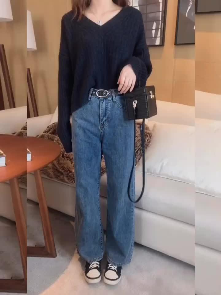 珍珍家2019新款定制 腿长2米的牛仔阔腿裤高腰复古显高 配腰带