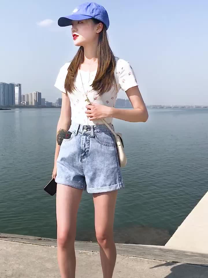 實拍高腰牛仔短褲女夏季新款寬松百搭顯瘦薄款闊腿褲子熱褲潮ins