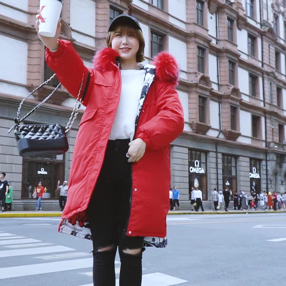 實拍長款過膝大碼羽絨服冬季韓版雙面穿寬松顯瘦加厚保暖大碼棉服