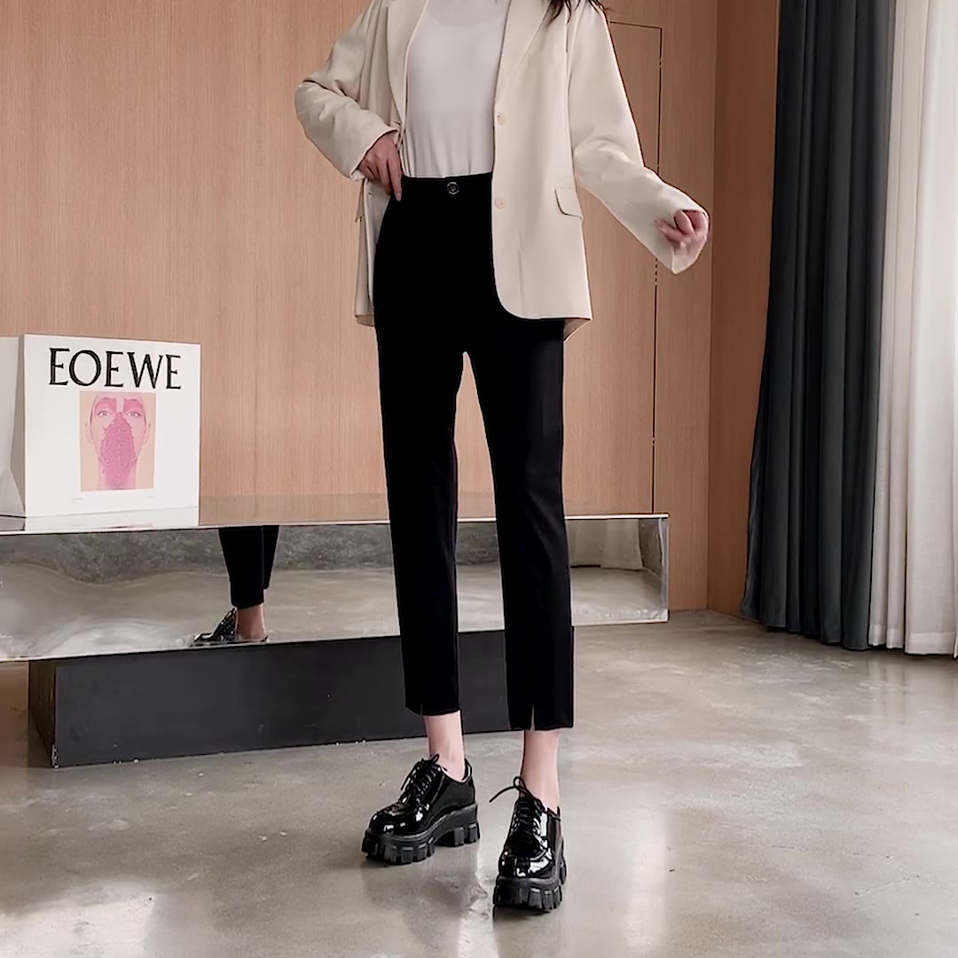 视频实拍韩版复古烟管裤职业西装休闲裤九分哈伦裤