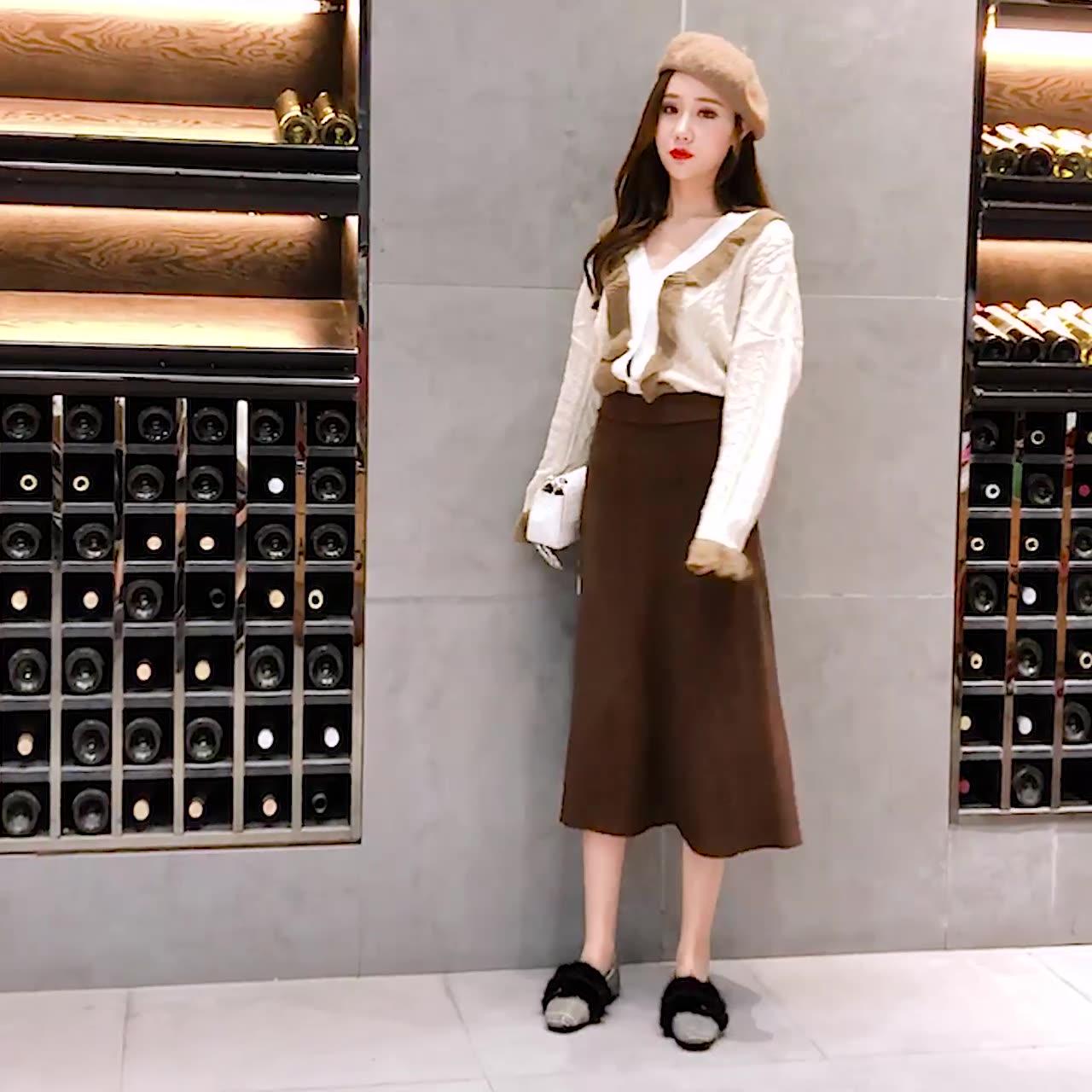 加厚针织半身裙女秋冬中长款2018韩国新款高腰大摆裙修身显瘦长裙