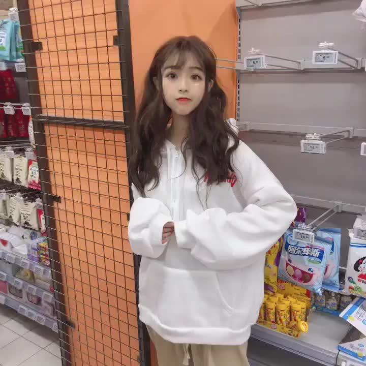 实拍 韩国宽松加绒加厚卫衣女潮外套拉链字母连帽