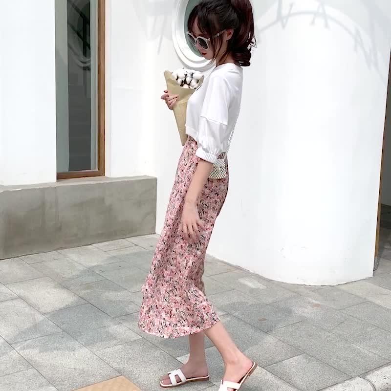 實拍2020夏韓版新款小清新油畫碎花半身裙高腰顯瘦中長A字裙女