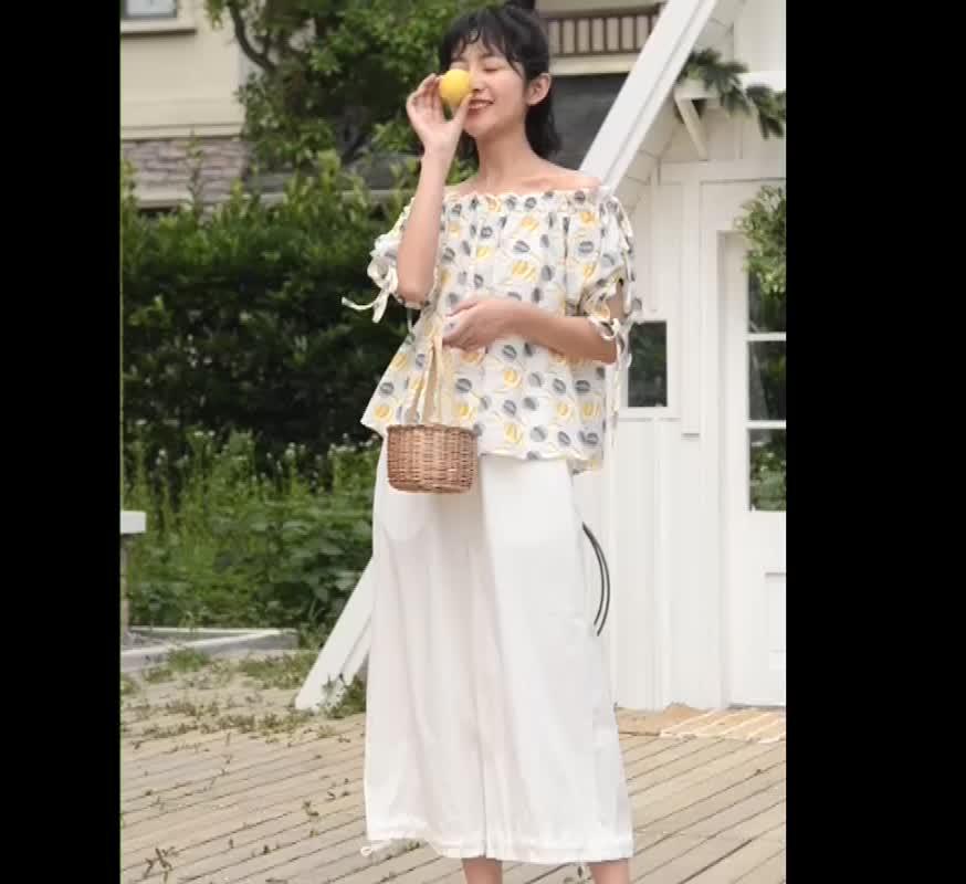闊腿褲女夏季顯瘦寬松高腰直筒九分褲韓版時尚休閑寬松褲子