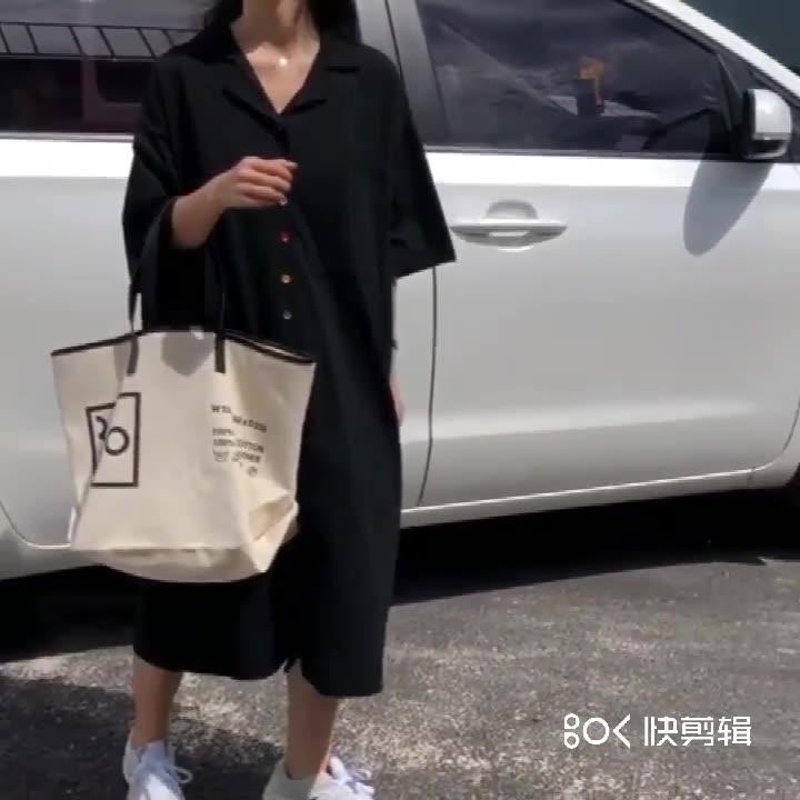 实拍2019夏新款大码胖mm麻棉宽松过膝衬衫裙200斤