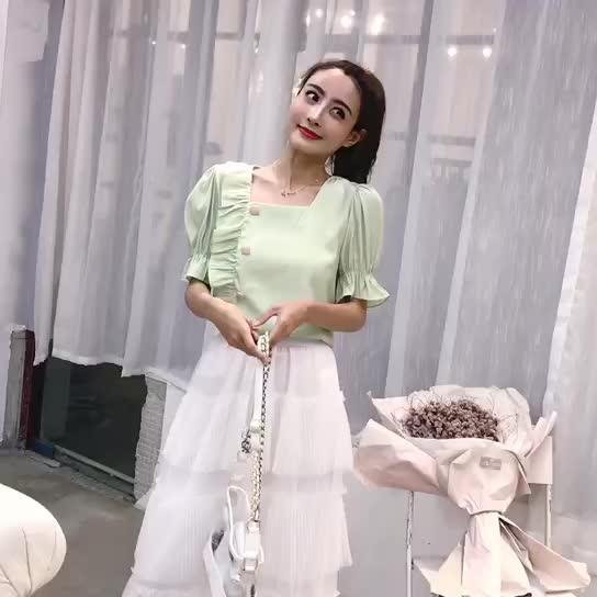 韓版ulzzang方領短袖百搭上衣女夏裝2019新款木耳邊小眾襯衫ins